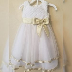 White tulle dress with gold
